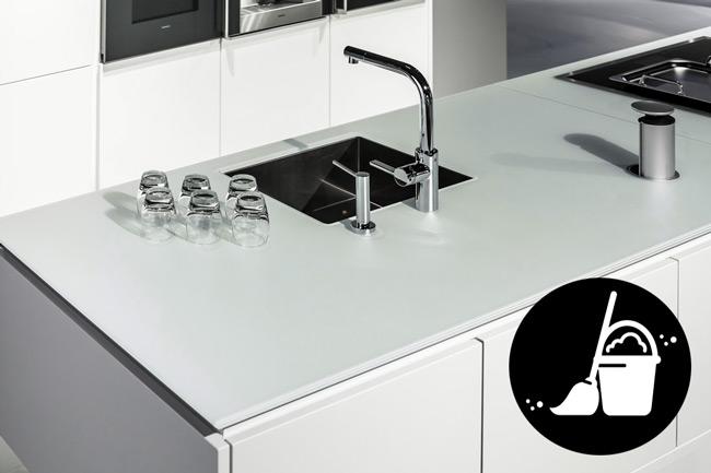 Aanrechtblad schoonmaken gehard glas for Werkblad keuken keramiek